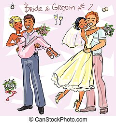 Bride and Groom set 2, Hand drawn Wedding Couples