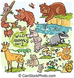 Wild animals, hand drawn collection, part 2. All animals are...