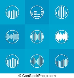 Soundwave icon or logo - vector white round music symbols on...