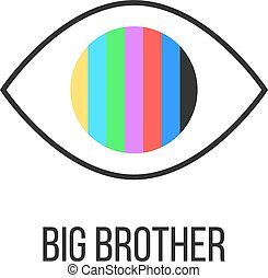 big brother is watching you from TV. concept of see hacking,...