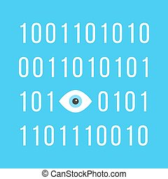 concept of big brother is watching you with binary code see...