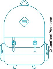 blue outline backpack concept of trip around the world and...