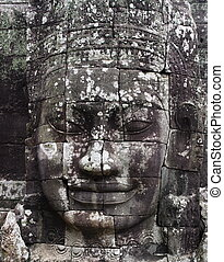 Close-up of smiling face of the king Jayavarman VII in the...