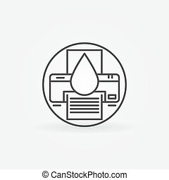 Cartridge refill logo or icon - vector printer symbol in...