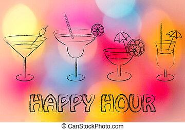 Coquetéis,  hour:, bebida, ÓCULOS, Feliz
