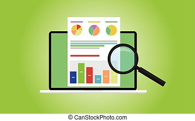 Business analyst with laptop notebook graph document flat...