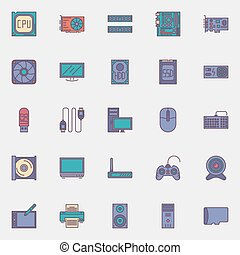 Computer hardware icons set - vector collection of flat PC...