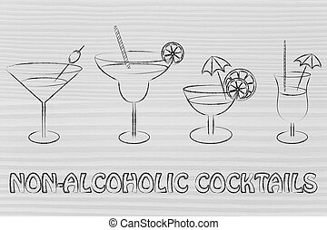 non-alcoholic cocktail recipes illustration: different style...