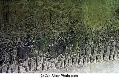Bas relief in Angkor Wat. Siem Reap. Cambodia - Bas relief...