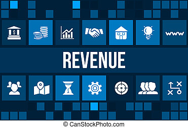 Revenue concept image with business icons and copyspace.