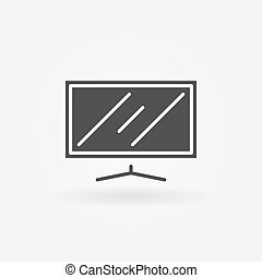 Flat screen TV icon - vector simple television symbol or...