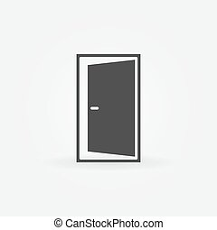 Open door icon - vector black door logo or symbol