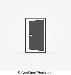 Open door icon - vector black door logo or symbol