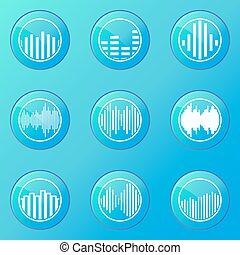 Soundwave blue icons - Soundwave icons - vector set of blue...