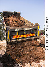 Truck Tipping Earthworks - Construction truck vehicle...