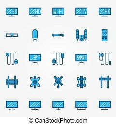 TV blue icons set - TV icons set - blue vector flat screen...