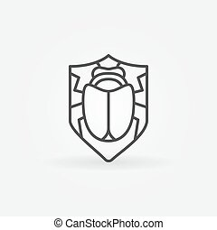Virus protection icon - vector shield with bug inside,...