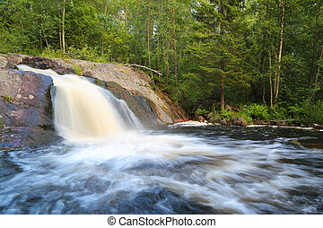 forest waterfall in Karelia - waterfall in forest - Karelia,...