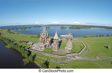 Aerial view of Kizhi island with old russian wooden...