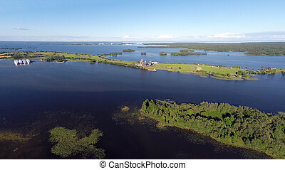 Onega lake and Kizhi island in Karelia - aerial view -...