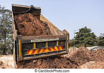 Truck Earthworks Tipping - Construction truck vehicle...
