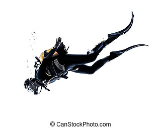 man scuba diver diving silhouette isolated