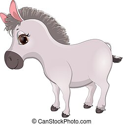 cartoon donkey - cute, handsome donkey cartoon on a white...