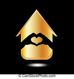 Hands forming a heart in a house