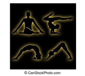 Glowing figures of yoga pose