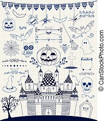 Vector Pen Drawing Hand Sketched Doodle Halloween Icons -...