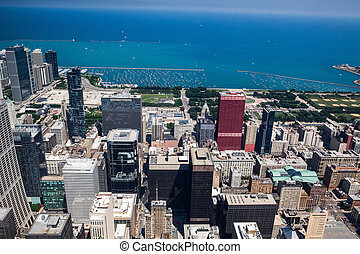 View on Chicago skyline panorama