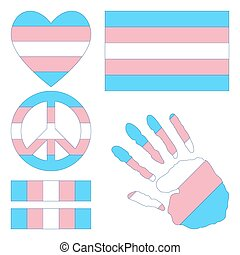 Transgender pride design elements. - Transgender pride flag,...