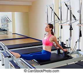 Pilates reformer woman stomach massage flat exercise workout...