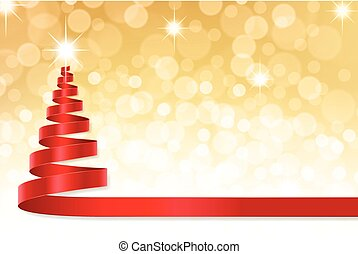 Christmas ribbon tree with Golden defocused background - A...