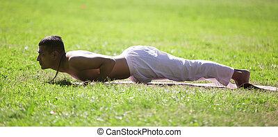 Chaturanga dandasana yoga pose in park - Profile of sporty...