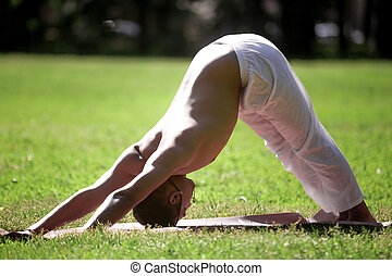 Downward facing dog yoga pose in park - Profile of sporty...