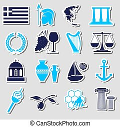 greece country theme symbols and stickers set eps10