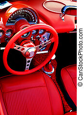 Red Sports Car Interior Steering Wheel - Detail of interior...