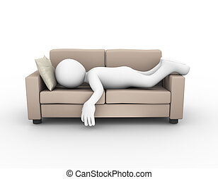 3d man sleeping on sofa couch - 3d rendering of tired and...