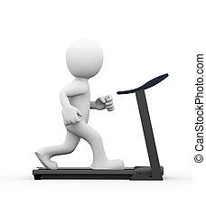 3d man running on treadmill