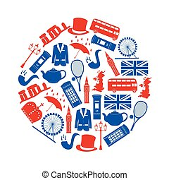 United Kingdom country theme symbols and icons in circle...