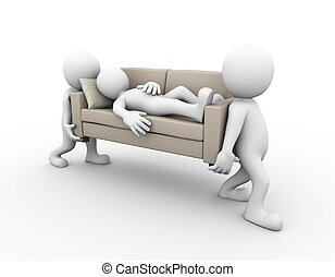 3d people carrying a sofa with sleeping man