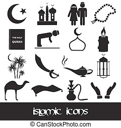 islamic religion simple black icons set eps10