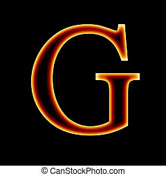 fire font: letter G on a dark background