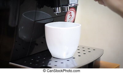 Coffee machine makes cup hot coffee