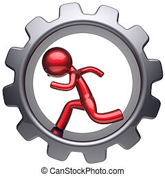 Running business inside gear wheel man stylized red character