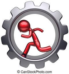 Running business inside gear wheel man stylized red...