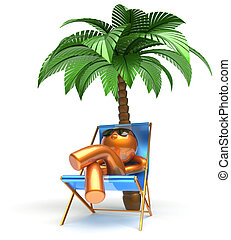 Man relaxing chilling beach carefree cartoon character palm
