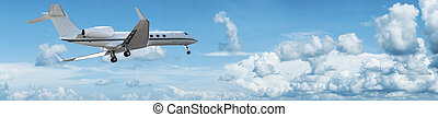 Private jet is maneuvering for landing Panoramic composition...