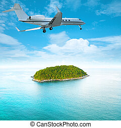Private jet over the tropical island Square composition